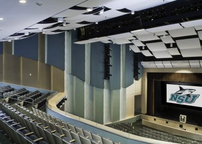 NSU Auditorium view from seats showing stage and ceiling panels