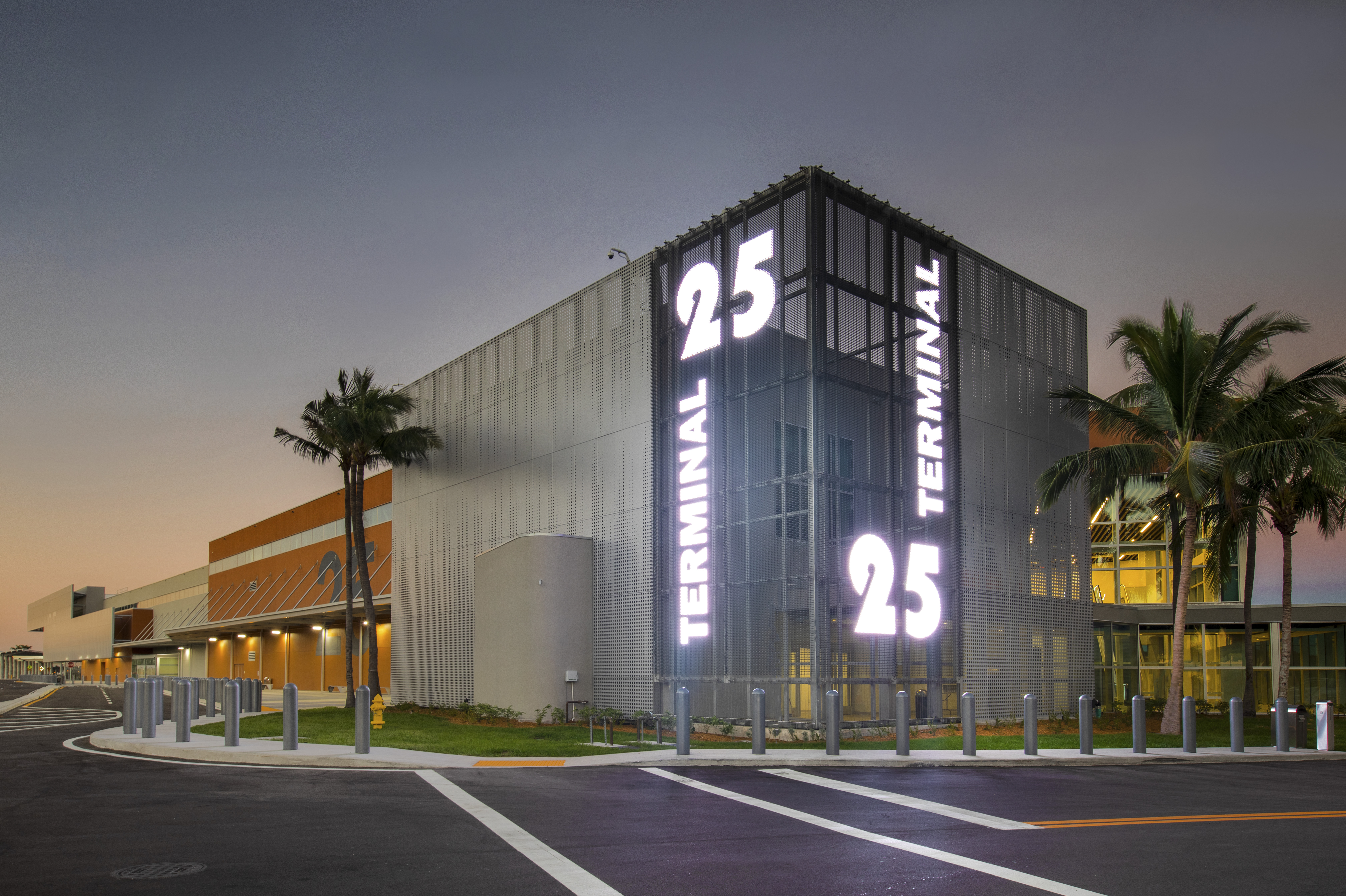 Port Everglades Terminal 25 exterior of building with sign lit up