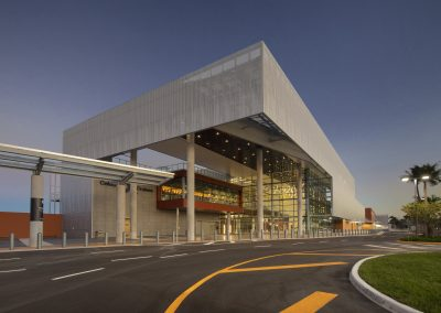 Port Everglades Terminal 25 exterior of building night view