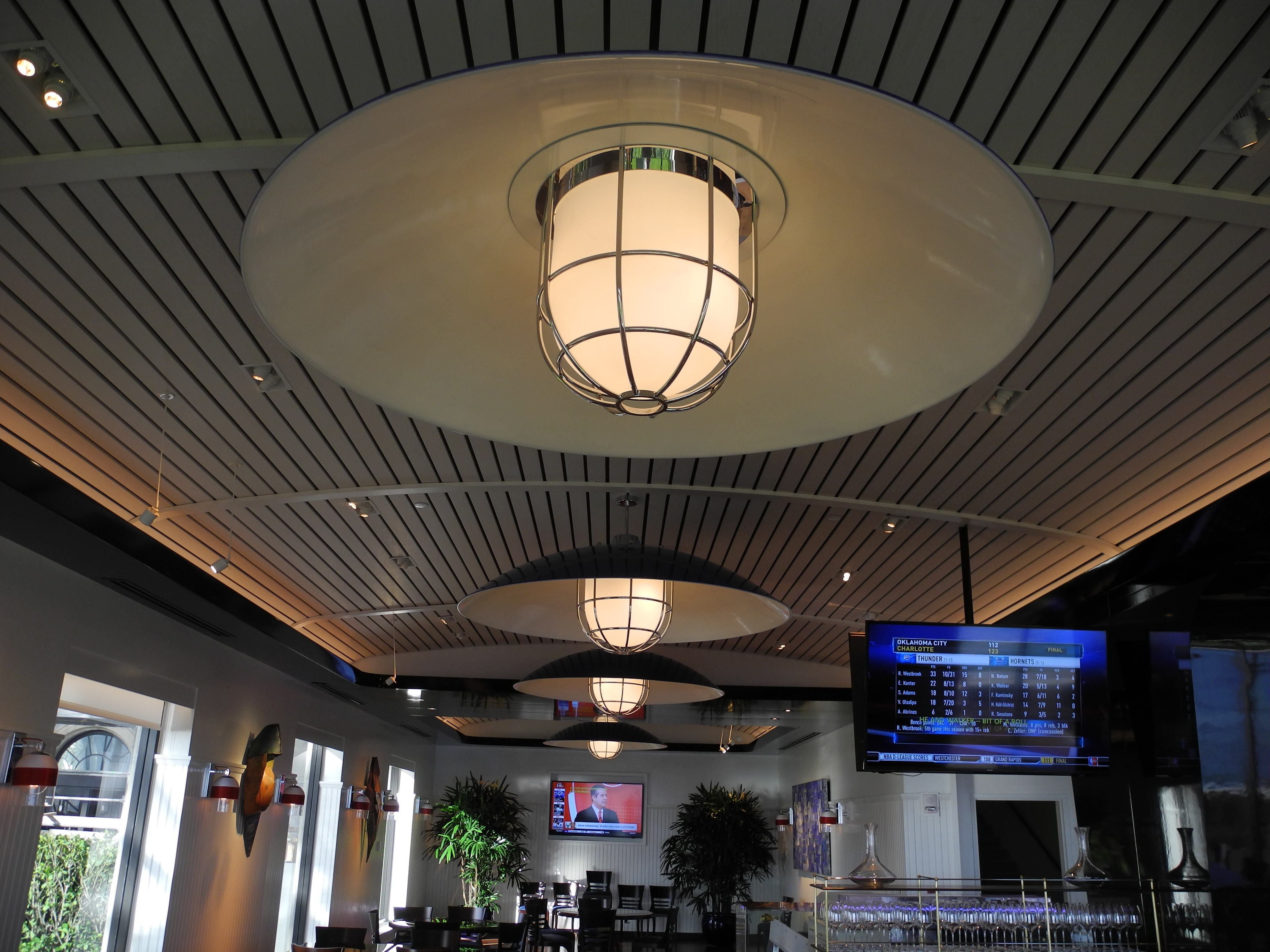 The Breakers Seafood Bar ceiling and light fixtures on ceiling