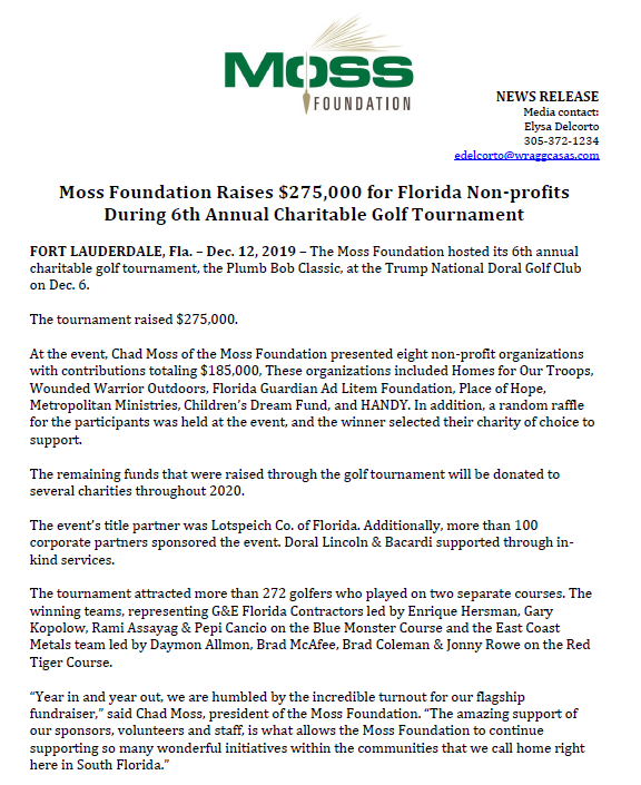 Moss Foundation raised $275,000 in 6th annual golf tournament